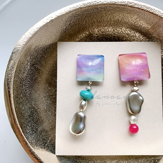 """"""" Earrings NO.danoan-71″ グラデーションペイントと淡水パール"""