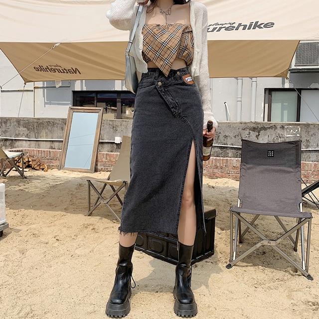 【ボトムス】カジュアルデニムショート丈/ロング丈無地ファッション スリットスカート45958350