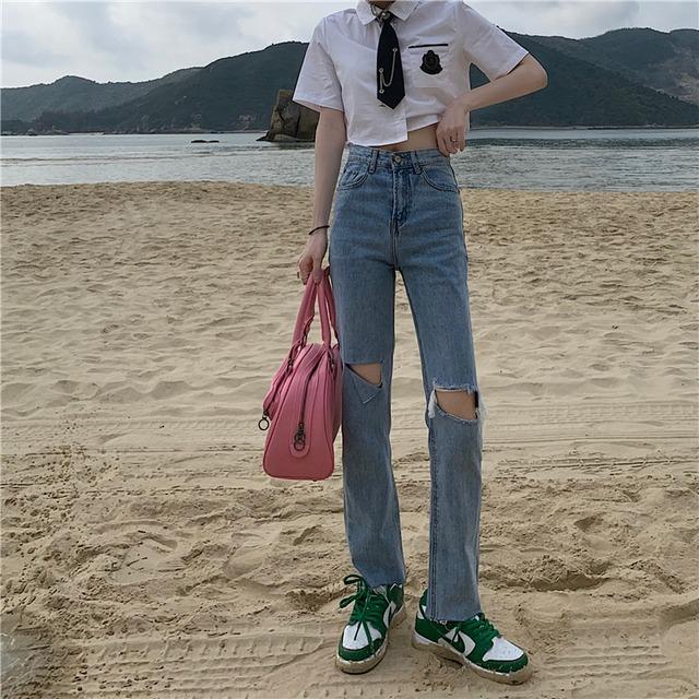 【ボトムス】一番人気 韓国系 ファッション ダメージ加工 ハイウエスト 無地 ハイウエストデニムパンツ46107027