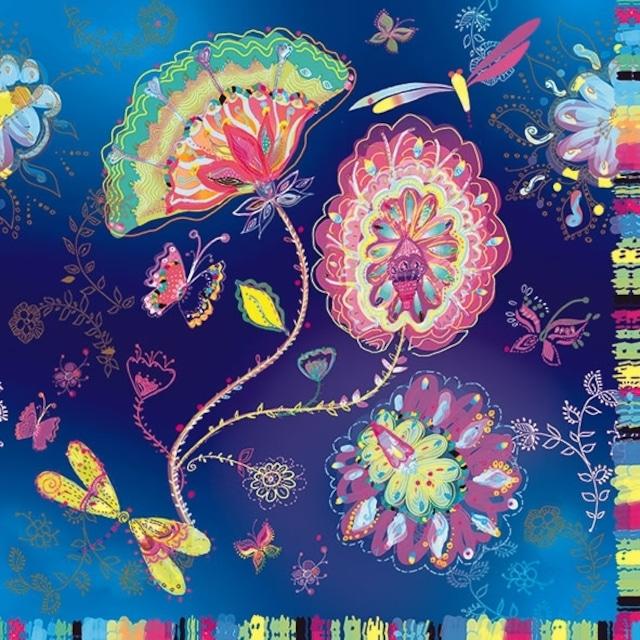 【artablo】バラ売り2枚 ランチサイズ ペーパーナプキン SILVER MOON MAGIC ネイビー