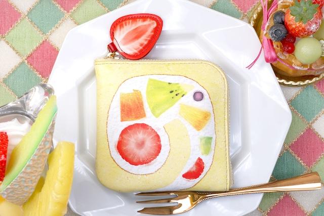 ロールケーキなL字ファスナーコンパクト財布(牛革製)