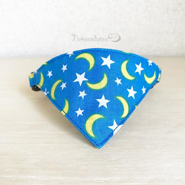 【月と星柄】猫用バンダナ風首輪/選べるセーフティバックル 猫首輪