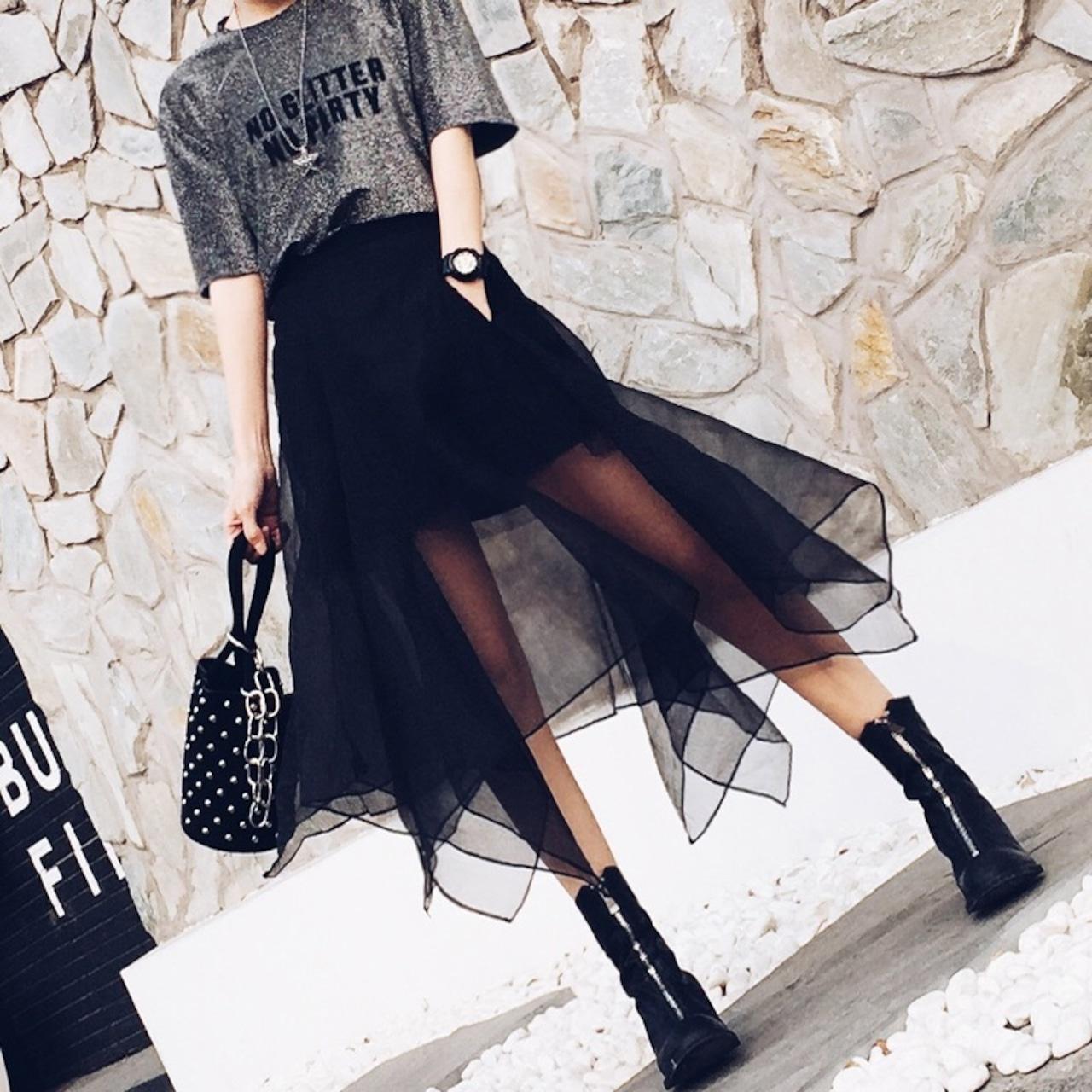cool flare irregularity skirt