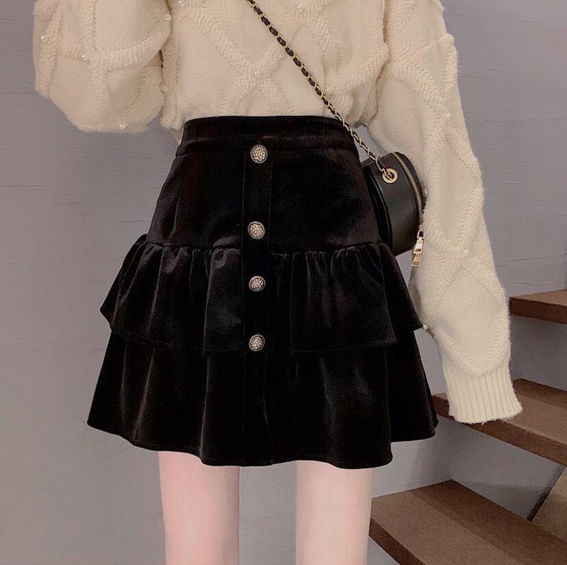 velvet A line skirt