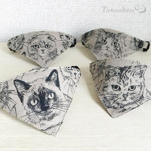 【猫の素描柄】猫用バンダナ風首輪/選べるアジャスター 猫首輪 安全首輪 子猫から成猫