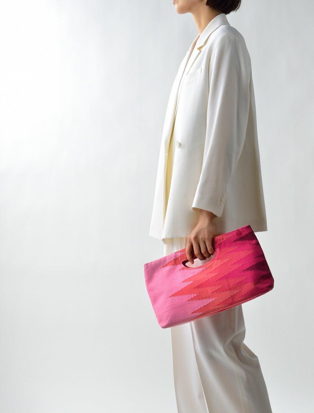 手織りペンシルバッグ ピンク(新入荷)