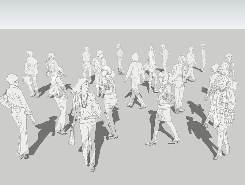 人物線画SketchUp素材 4up_line01_20_3 - 画像1