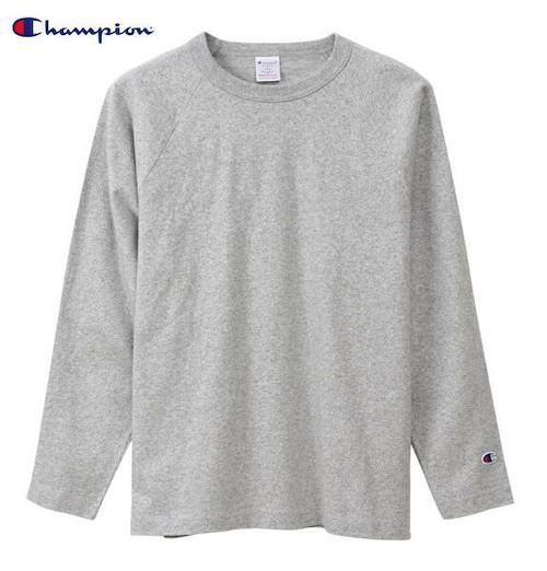 CHAMPION チャンピオン ラグラン 長袖 Tシャツ ロンT T1011 ティーテンイレブン 正規販売店 C5-Q014 オックスフォードグレー