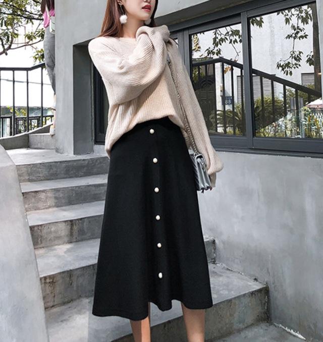 【パールボタンがアクセント♡リブニットスカート】 スカート Aライン リブニット フレアスカート ミモレ丈 パール ボタン付き 大きいサイズ ゆったり レディース かわいい きれい目 大人っぽい ブラック 送料無料