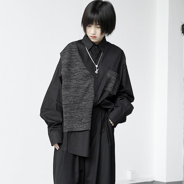 【KEN STUDIOシリーズ】★シャツ★ トップス 男女兼用 個性的 オリジナル ブラック 黒い コットン 切り替え S M L