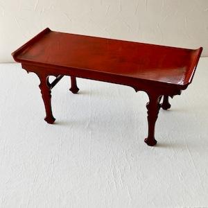 【30928】 輪島塗 朱塗りの台 B品 明治 / Wajima Nuri Small Table / Meiji Era