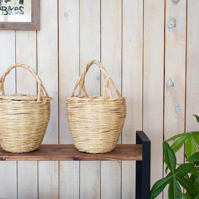 とんがり帽子のふたつきカゴ/ピンクMini(インテリア・アウトドア・コーヒー・小物入)