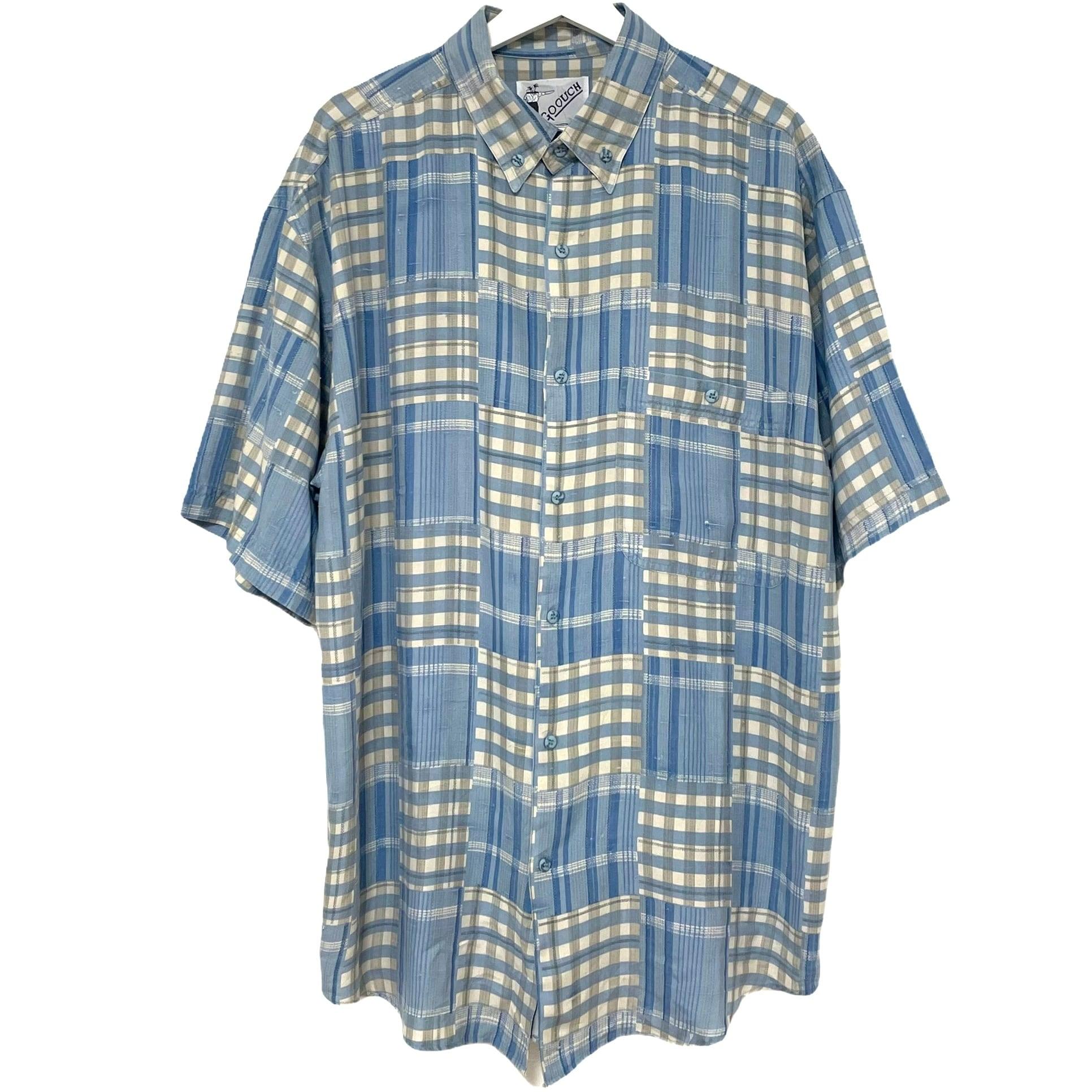 Dead Stock 90's GOOUCH Silk Shirt 【 BLUE Short Sleeve 】