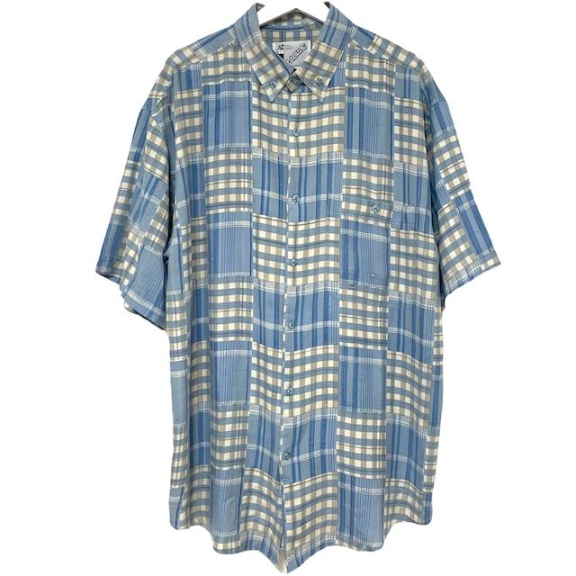 Dead Stock 90's GOOUCH Silk & Linen Shirt 【 Stripe Short Sleeve 】