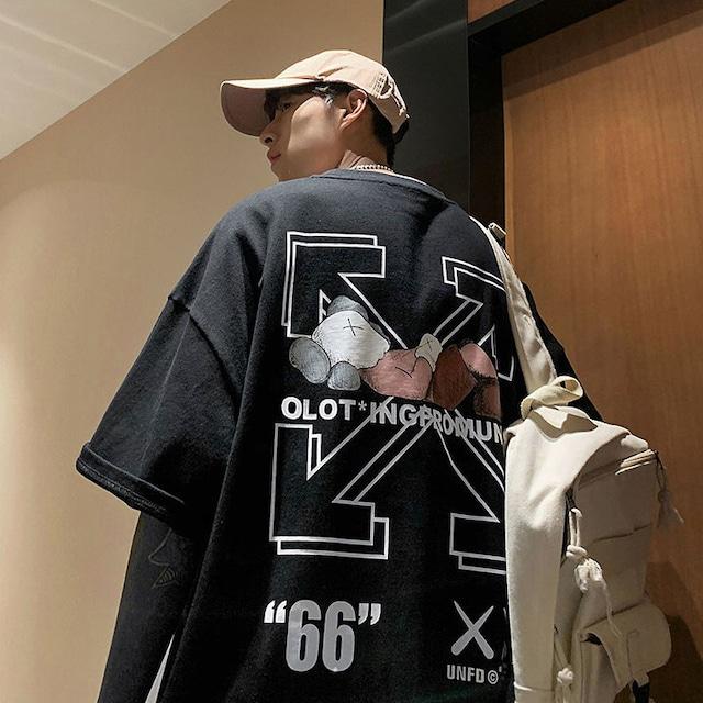 【トップス】カジュアルプリントロング丈Tシャツ47232685