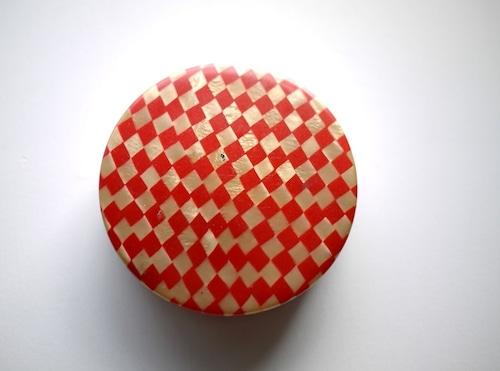 セルロイドのミラー付きパフケース  コンパクト 白粉 市松 パフ入り