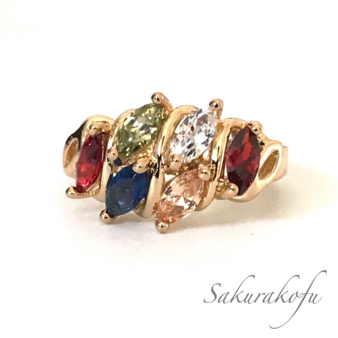 D002 送料無料 レディース 指輪 アクセサリー カラーストーン ゴールド Multicolor Stone Ring