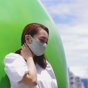 2層リネンシルクマスク ギャザータイプ /カラー:ピスタチオ【bionatural】