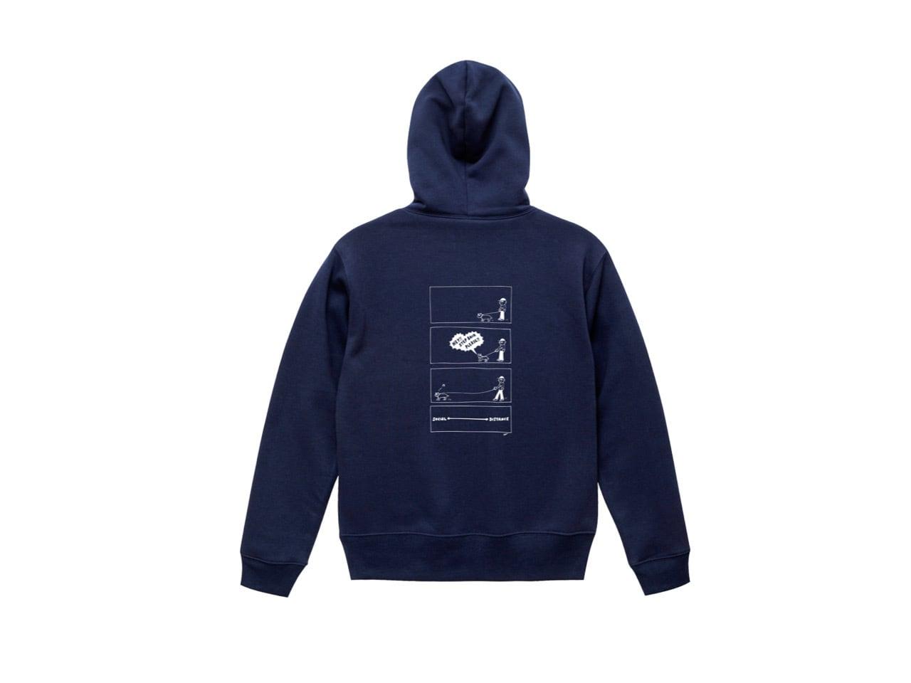 SHI × coguchi Dog SD hoodie (NVY/WH)