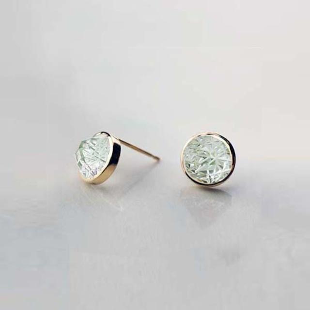 Green Quartz KIRIKO Pierced Earrings (Round)