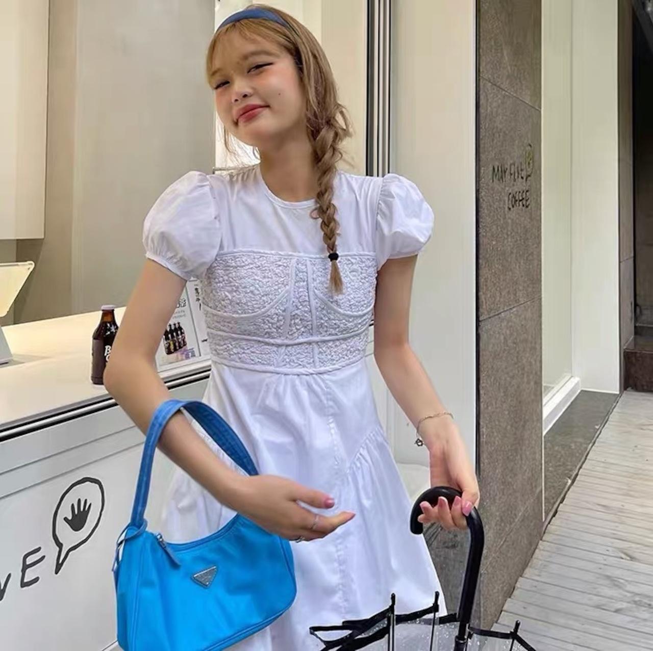 puff sleeve white dress