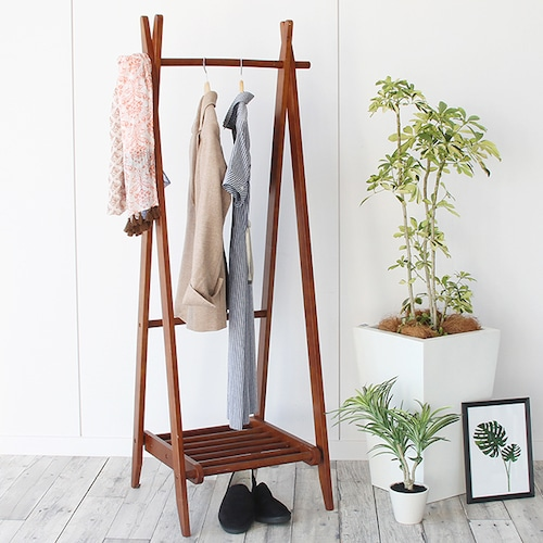 天然木A型折りたたみハンガーラック。収納棚付きで便利な機能的&どんな部屋にも馴染むシンプルデザイン。