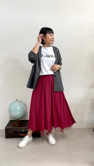 ほんのり秋のムード香るチュールレイヤードカラースカート