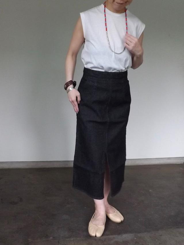Women {CL010-0165} Black Denim skirt [BLACK]  日本製.岡山デニム.ストレッチ,ボーイな女,セットアップ.