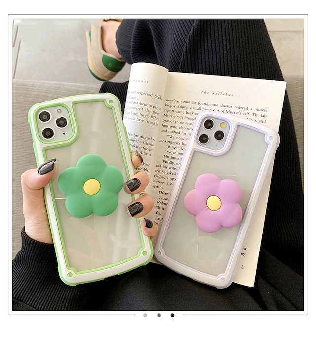 グリップ付き flower bracket iphone case