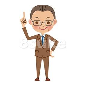 イラスト素材:指差しをする中年のビジネスマン(ベクター・JPG)