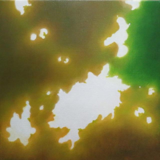 絵画 絵 ピクチャー 縁起画 モダン シェアハウス アートパネル アート art 14cm×14cm 一人暮らし 送料無料 インテリア 雑貨 壁掛け 置物 おしゃれ こもれび 木漏れ日 自然 風景 ロココロ 画家 : 馬見塚喜康 作品 : こもれび-Ⅷ