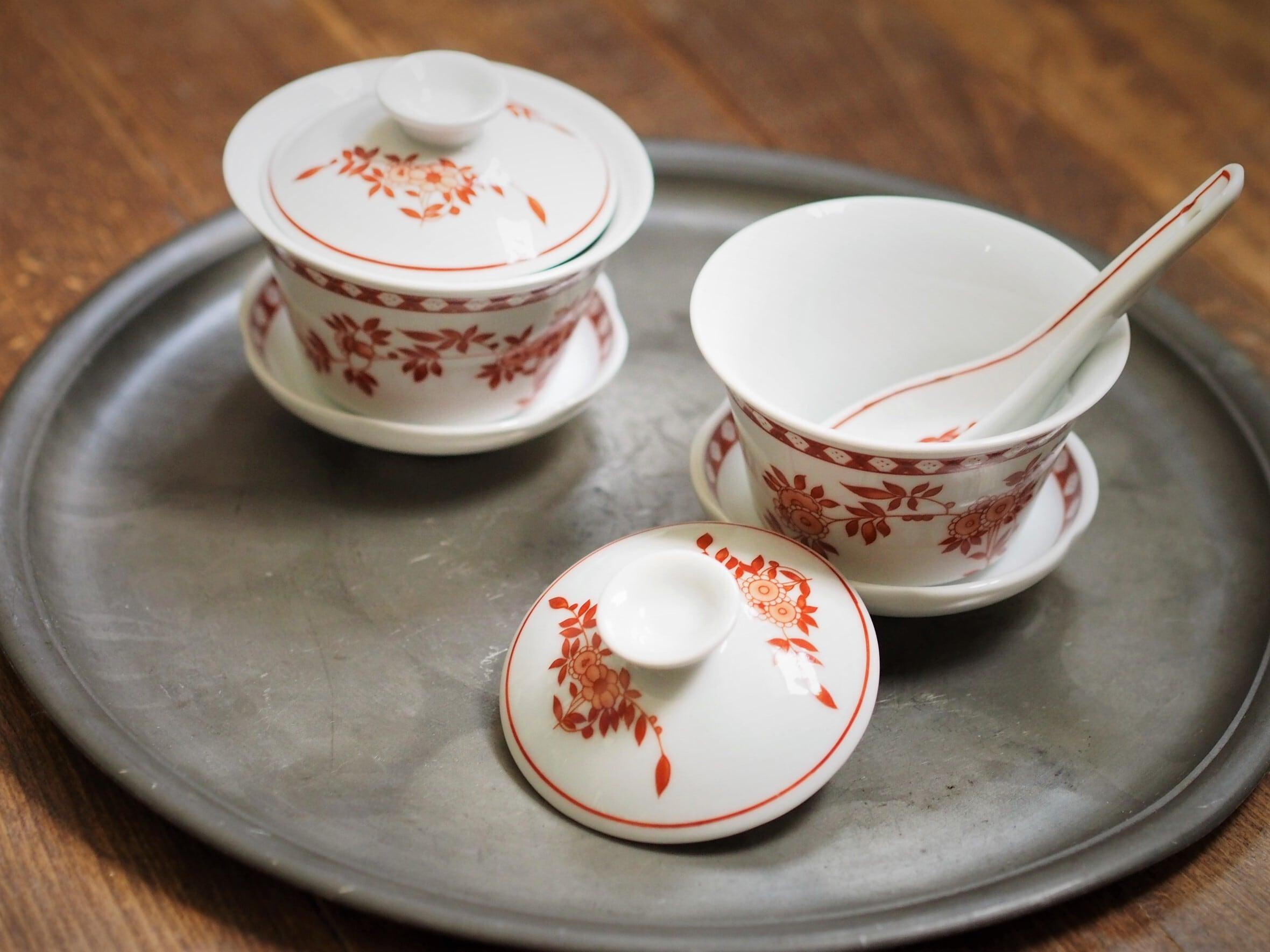 『コーラルの蓋碗/Oriental flower』【ペニンシュラ食器/コーラルクレスト】