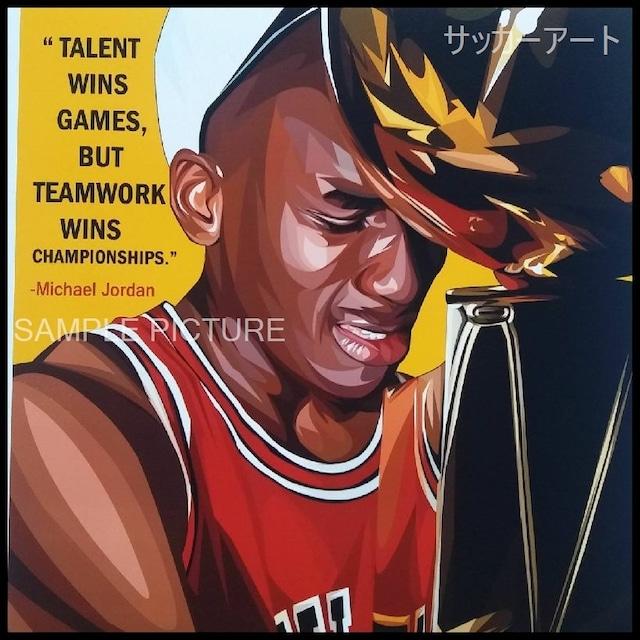 スポーツグラフィックアートパネル マイケル・ジョーダン デザインC 木製 壁掛け ポスター (003-078)