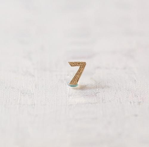 数字 シングルピアス  SV925 Numéro 7 ゴールドコーティング