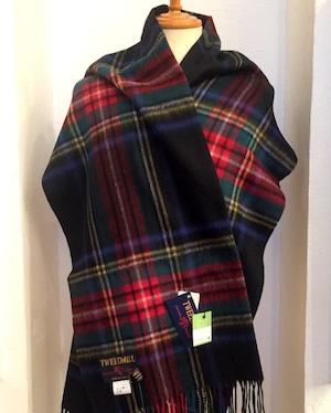 【TWEEDMILL】Lambswool Blanket Stole with Pin(Knee Rug) Tartan 464 Black Stewert