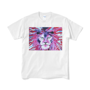 Pink Lion Tシャツ:ユッコ・ミラー絵画シリーズ(ホワイト)