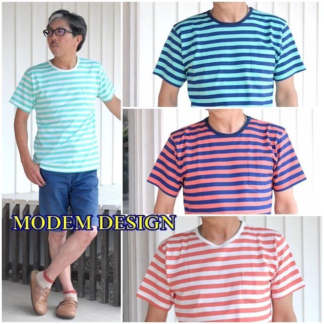 モデムデザイン modemdesign  半袖Tシャツ カットソー 1705353 メンズ Tシャツ ボーダー