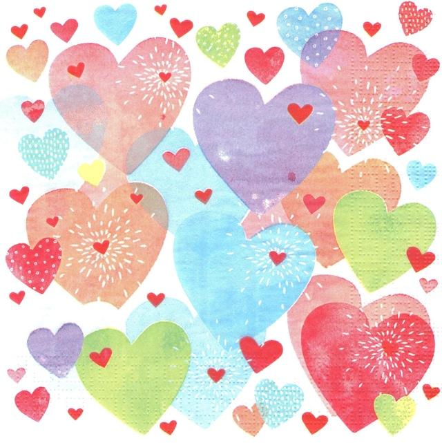 【Paperproducts Design】バラ売り2枚 ランチサイズ ペーパーナプキン Konfetti Hearts ピンク