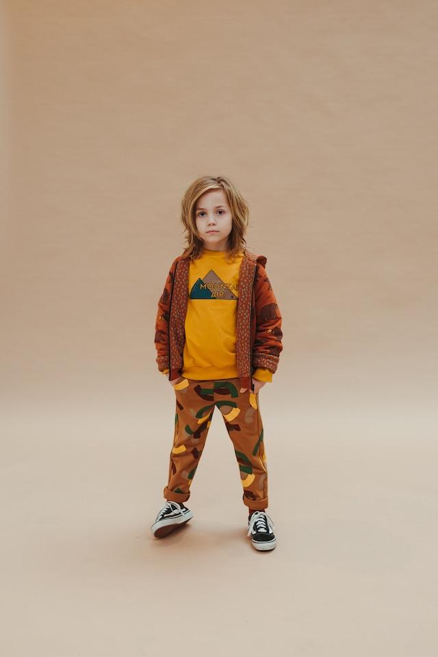 【21AW】カーラインク(CARLIJNQ)Mountain Air sweater wt print  Yellow 山 スウェット