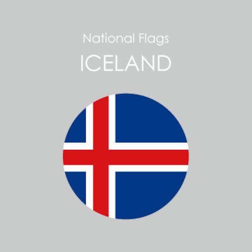 円形国旗ステッカー「アイスランド」