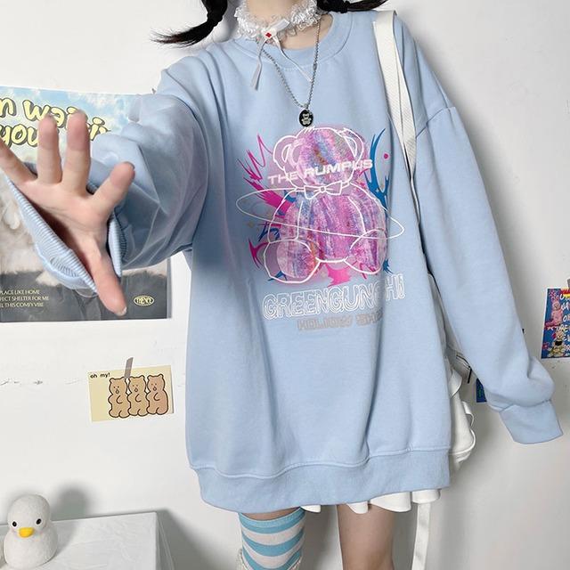 【トップス】ファッションキュートプリント長袖ラウンドネックパーカー52665118