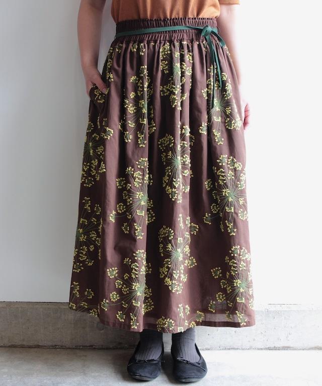 フェンネル刺繍スカート (evi219  BRN・ブラウン)