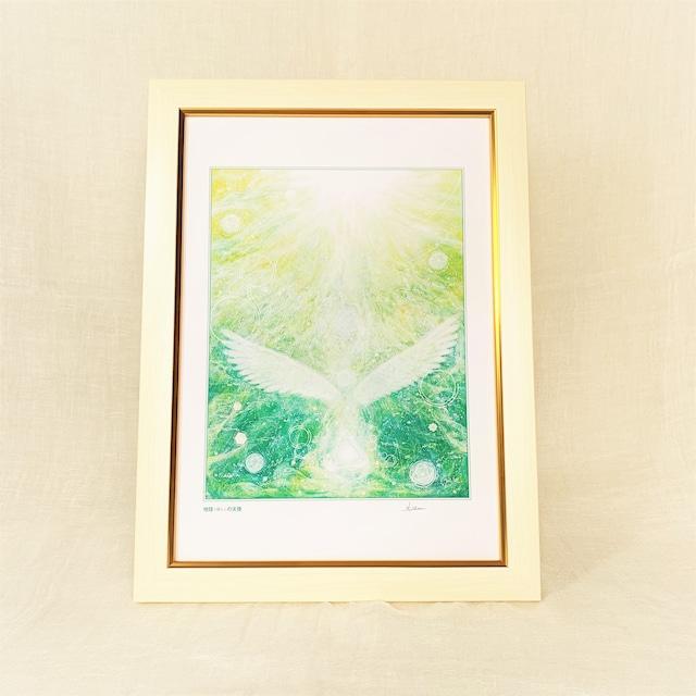 『地球(ほし)の天使』【天使の絵】A4サイズ 額入 ヒーリングアート