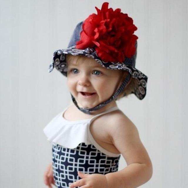 USAサイズ3ヶ月~1歳【JamieRaeHats ジェイミーレイハット】12<サンハット>ネイビーブルー/レッドしゃくやく USAサイズ3ヶ月~1歳