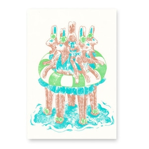 【残りわずか】夏のポストカード うさぎの浮き輪