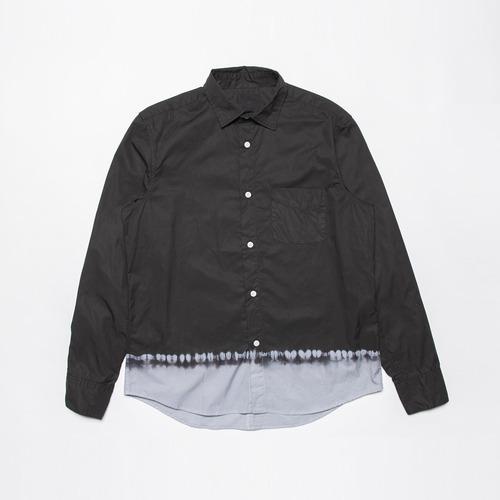 <OSOCU> Garberdine shirt black dye 播州織ギャバジン×名古屋黒紋付染 日本の黒染めシャツ 絞り染め 裾グレー