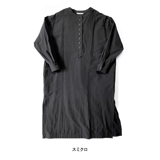 atelier naruse cotton-flax back satin long shirts