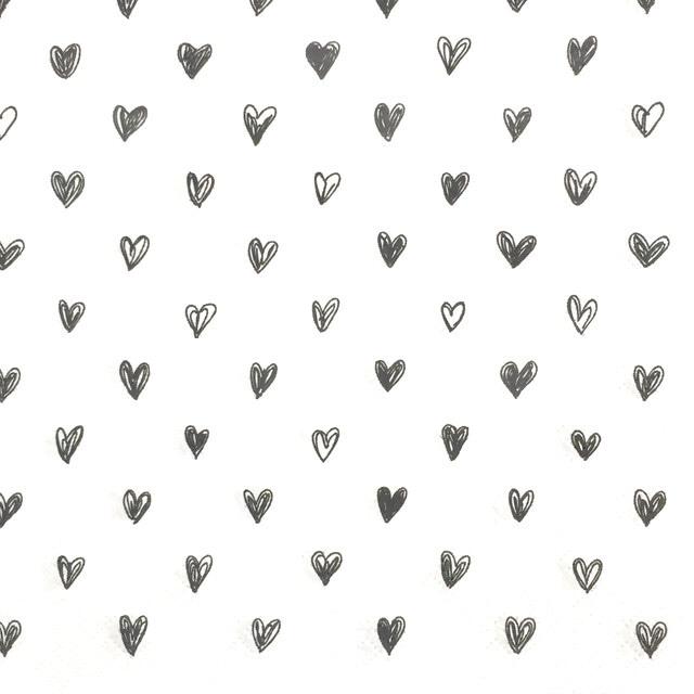 北欧【Ib Laursen】バラ売り1枚 ランチサイズ ペーパーナプキン HEARTS ブラック