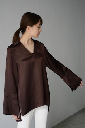 UNDECORATED / CUPRA SATIN TOP (brown)