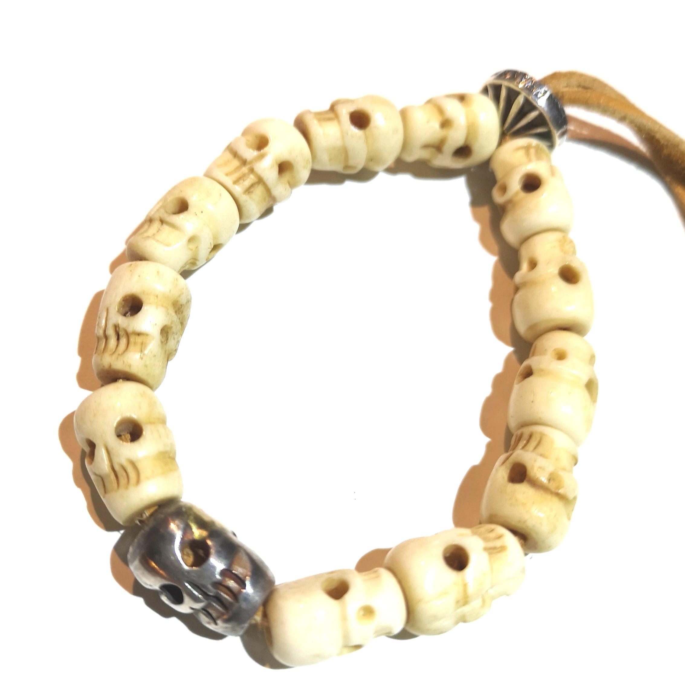 Tibetan Skull Beads and Silver Bracelet Ver.2
